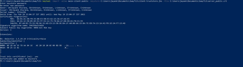 Two-way TLS import Server Public Certificate
