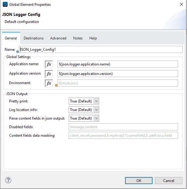 JSON Logger Default Configuration