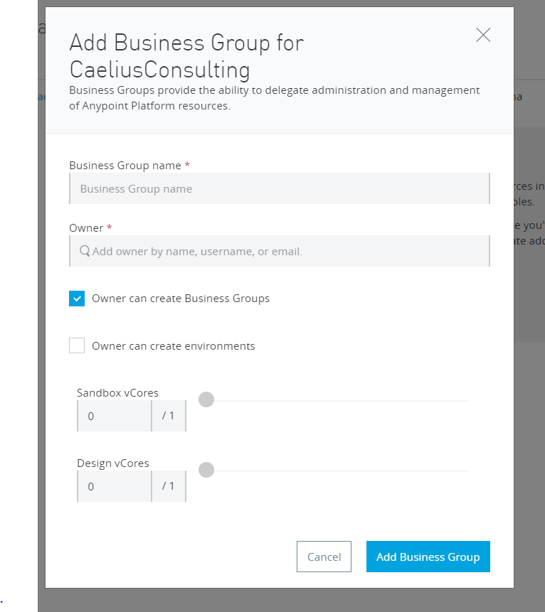 Business group creation in MuleSoft